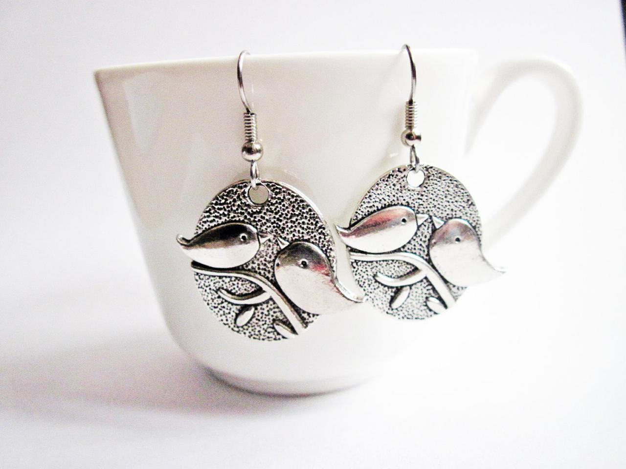 Bird Earrings, Love Birds Earrings, Lovebirds Earrings, Everyday Wear, Silver, Twitter Bird, Mod Bird Earrings, Retro Style, Bird Jewelry