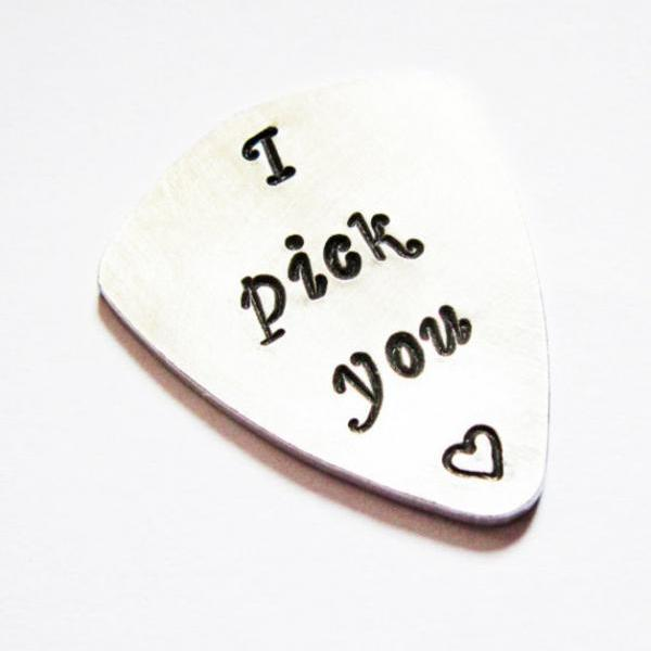 Personalized guitar pick, I pick you, handstamped plectrum, engraved gift, mens fashion, guitar player